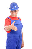Senior worker hand shake Stock Images