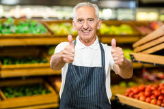 Senior worker showing thumbs ups Royalty Free Stock Photo