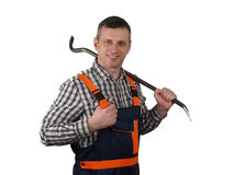 The senior worker with the tool Stock Photography