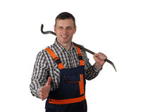 The senior worker with the tool Royalty Free Stock Photo
