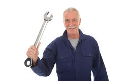 Senior worker with wrench Royalty Free Stock Images