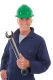 Senior worker with wrench Royalty Free Stock Image