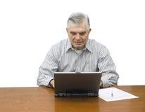 Senior working on laptop Royalty Free Stock Photography