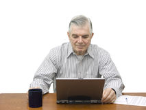 Senior working on Laptop Royalty Free Stock Images