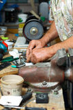 Senior working in workshop Stock Photography