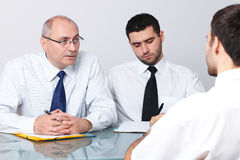 Senior and young businessman interview applicant Stock Image