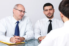 Senior and young businessman interview applicant Royalty Free Stock Photo