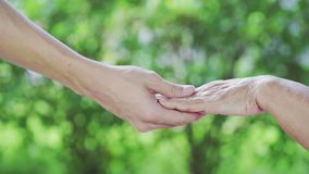 Senior and young holding hands. Senior and young holding a hands stock video footage