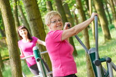 Senior and young woman exercising upper body on outdoor gym, healthy lifestyle Stock Photo