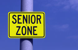 Senior Zone. A sign marking an area where senior citizens are known to congregate Stock Images
