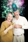Seniora przyjęcie na nowy rok wigilii - fajerwerki Obraz Stock
