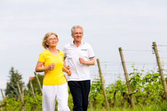 Senioren, die in die Natur tut Sport laufen Stockfotografie