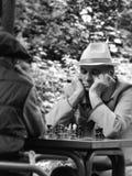 Senioren, die Schach spielen stockfotografie
