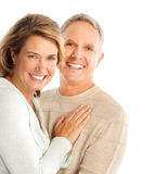 Seniors. Happy senoirs couple in love. Isolated over white background stock photos