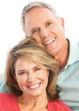 Seniors. Happy seniors couple in love. Isolated over white background Royalty Free Stock Photos