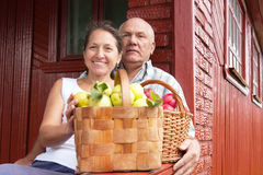Seniors with apples Stock Photos