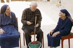 Seniors around cherry bucket Royalty Free Stock Photos