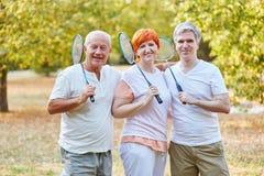 Seniors as a badminton team Royalty Free Stock Photo