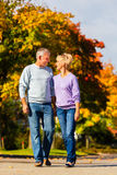 Seniors in autumn or fall walking hand in hand Stock Photo