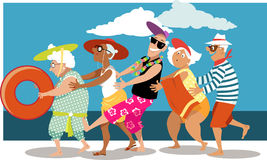 Seniors on the beach. Group of active seniors dancing a conga line dance on the beach, EPS 8 vector illustration Royalty Free Stock Images