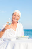 Seniors at the beach royalty free stock images