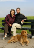 Seniors on a bench Stock Photos