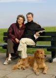 Seniors on a bench. Senior couple on a pak bench, a dog beside Stock Photos