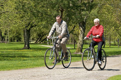 Seniors on bikes Royalty Free Stock Image