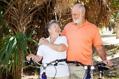 Seniors Biking Together Stock Photo