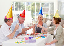 Seniors on birthday at home Royalty Free Stock Photography