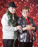 Seniors Celebrate Christmas Royalty Free Stock Photo