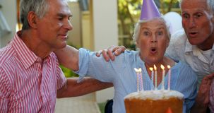 Seniors celebrating a birthday 4k stock footage