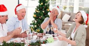 Seniors on Christmas day Royalty Free Stock Image