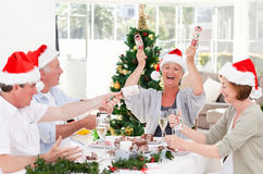 Seniors on Christmas day at home Stock Photo