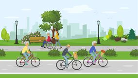 Seniors in the city park. Active seniors in the City park. Seniors people cycling outdoor. Woman walking with senior man in a wheelchair in the city park. Vector Stock Photography