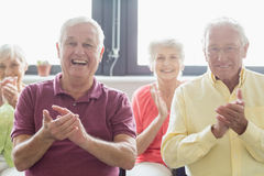 Seniors clapping hands Royalty Free Stock Photos
