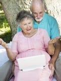 Seniors - Computer Frustration Stock Photo