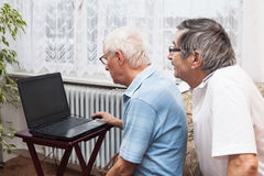 Seniors computer learning Stock Image