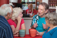Seniors in Conversation. Four Caucasian senior adults with coffee mugs in conversation Stock Photography