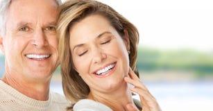 Seniors couple. Happy elderly seniors couple in love outdoor Stock Images