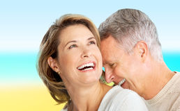 Seniors couple. Happy elderly seniors couple in love outdoor Royalty Free Stock Photography