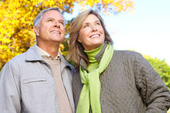 Seniors couple. Happy elderly seniors couple in park Stock Photography