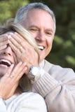 Seniors couple. Happy elderly seniors couple in park royalty free stock photo