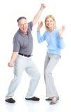 Seniors couple. Happy elderly seniors couple in love. Isolated over white background Stock Photography