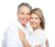 Seniors couple. In love. Isolated over white background stock images
