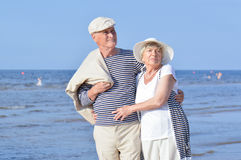 Seniors couple on the beach Royalty Free Stock Photography