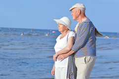 Seniors couple on the beach Stock Photo
