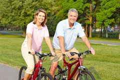Seniors couple biking. Happy elderly seniors couple biking in park Royalty Free Stock Image