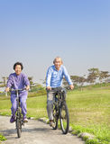 seniors couple biking in the park royalty free stock photo