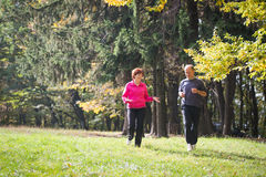 Seniors couple jogging Royalty Free Stock Photo